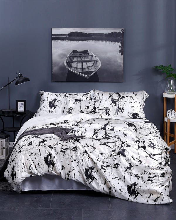 19 Momme Marbling Print Silk Doona Cover White Marble Print Super King