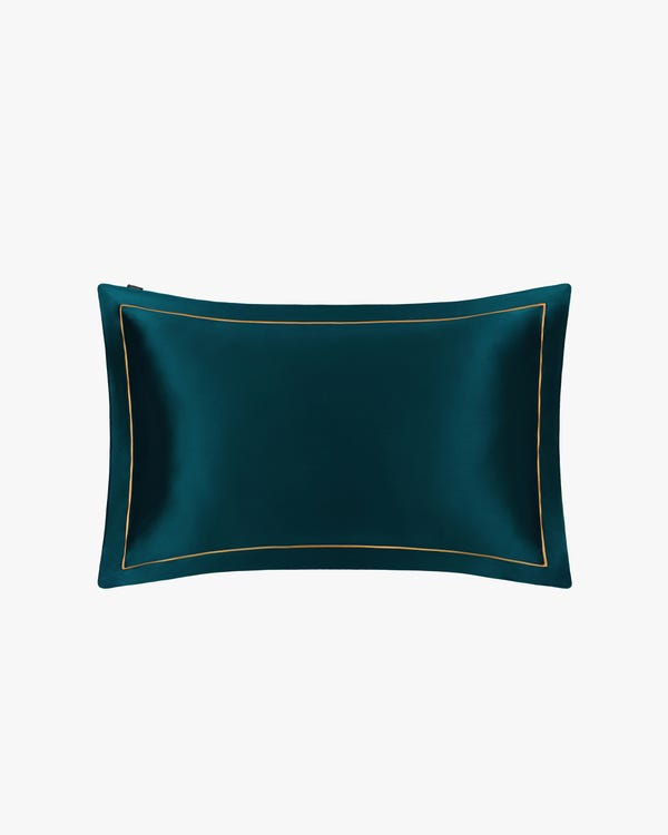 19 Momme Envelope Silk Pillowcase With Gold Piping Dark Teal 50x75cm