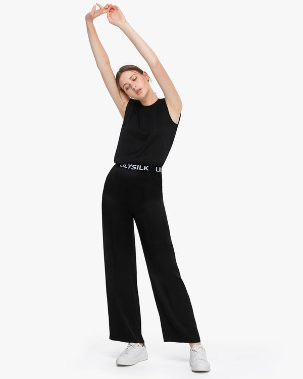Silk Straight Leg Pants With Logo Black 29B