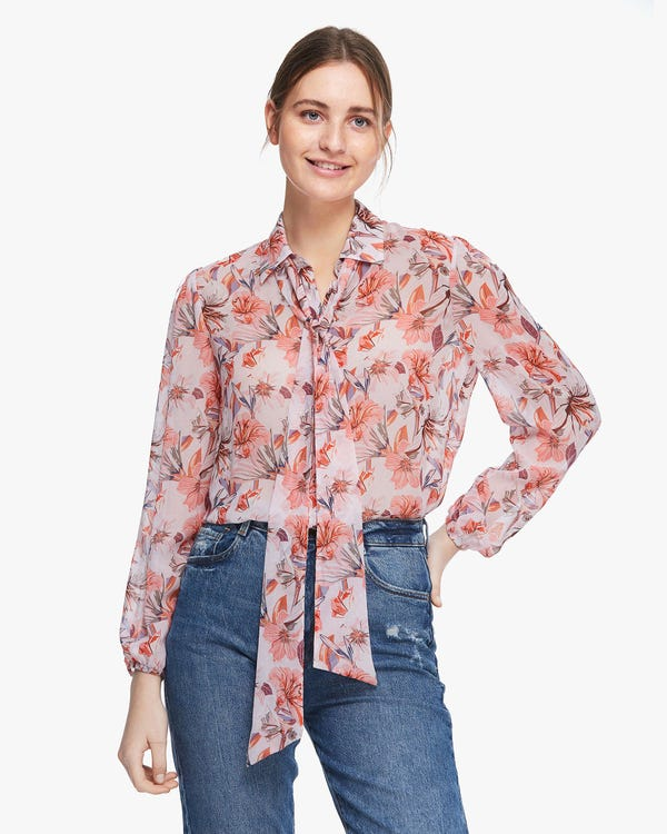 MIM Floral 2 in 1 Silk Blouse Pink-Orange-Flower XXL