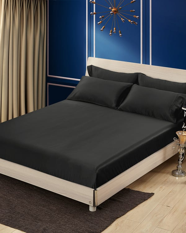 25 Momme Seamless Luxury Fitted Sheet Black Single