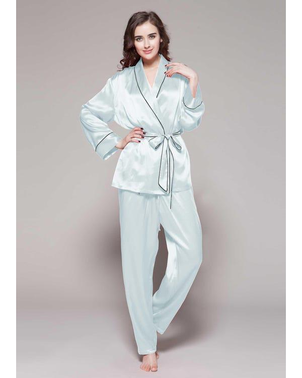 22 Momme Contrast Trim Silk Pajamas Set Light Sky Blue 1X