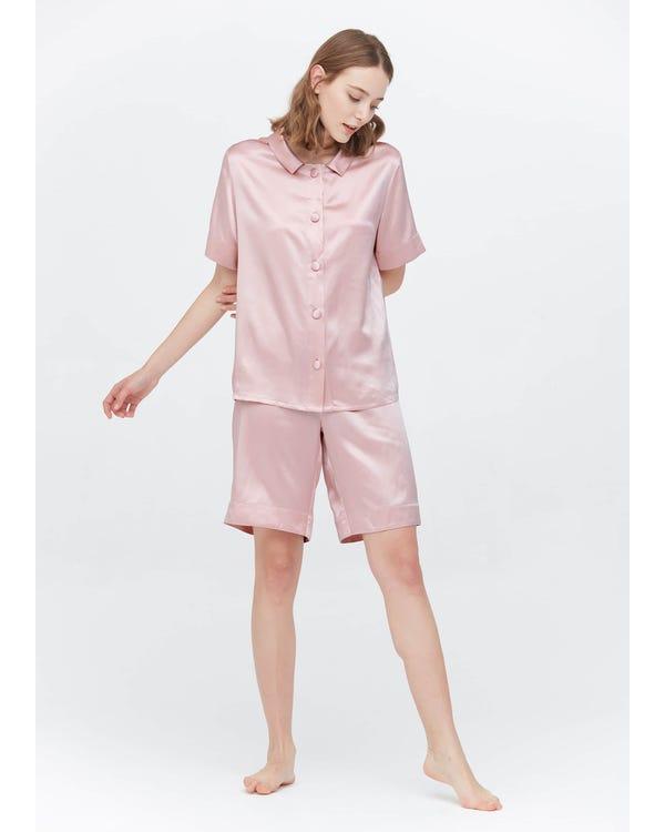 22 Momme Pijamas Seda Cortos Dulces Rosy Pink XS