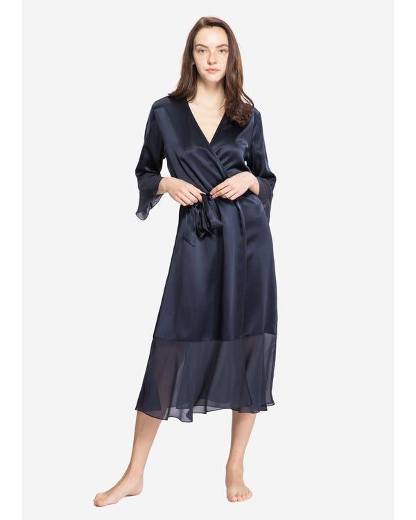 22 Momme Vintage V Neck Airy Silk Robe Navy Blue XS