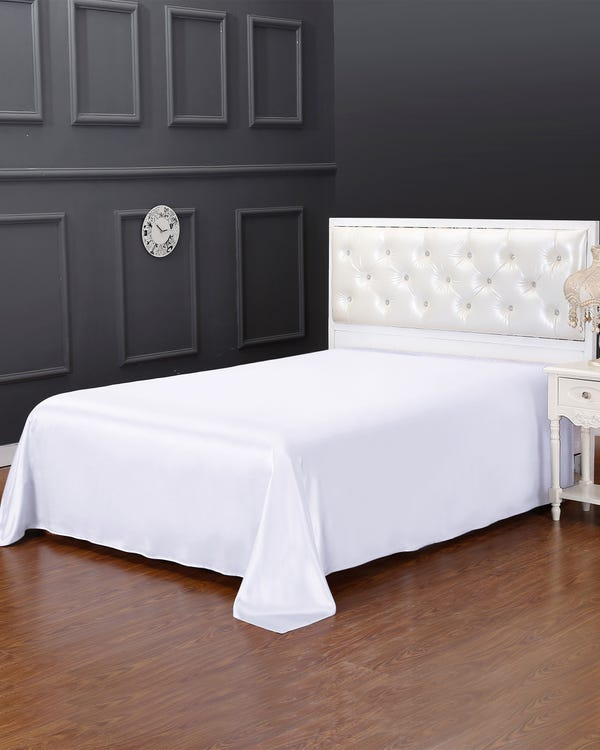 25 Momme Seamless Silk Flat Sheet White Cal.King