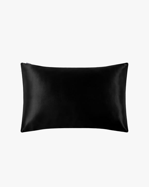 19 Momme Housewife Silk Pillowcase with Hidden Zipper Black King-hover