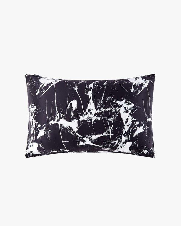 19 Momme Marbling Print Silk Pillowcase Black Marble Print King