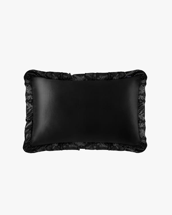 19MM Silk Pillowcase With Ruffle Trim Black 50x90cm