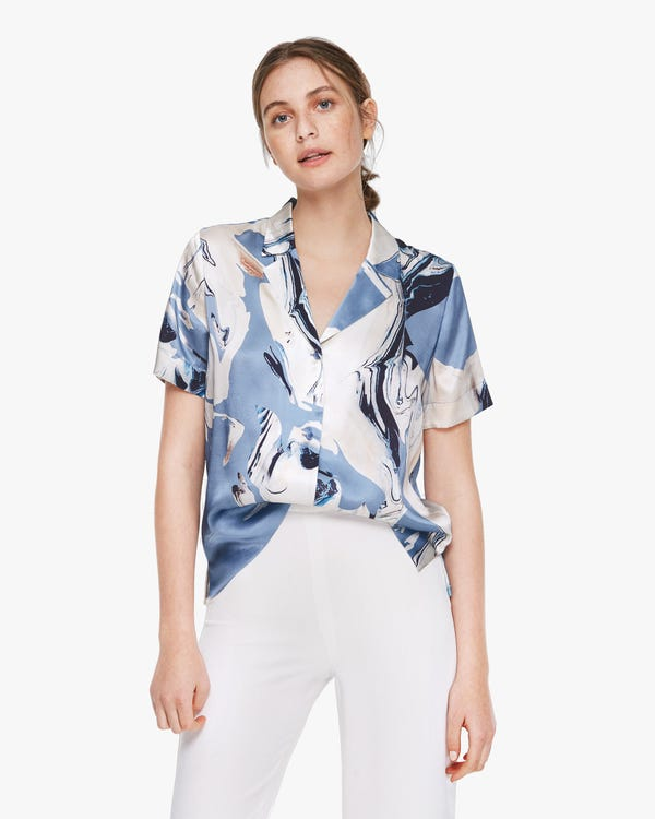 Geode Print Short Sleeve Silk Blouse