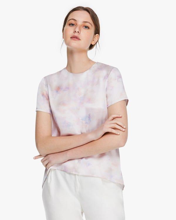 Watercolor Print Silk T Shirt Pink-Purple-Tie-Dye XS