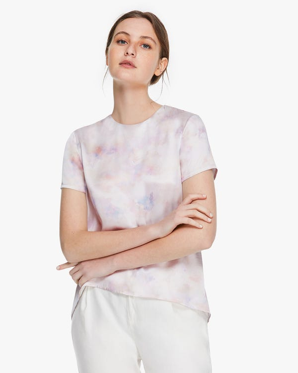 Watercolor Print Silk T Shirt Pink-Purple-Tie-Dye XL