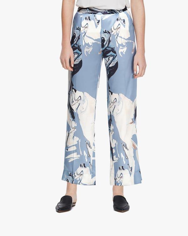 Water Pollution Plastic Print Women Silk Pants Geode-Print 27B
