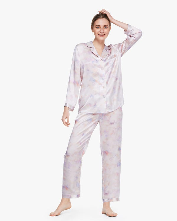 Printed Silk Pyjama Set For Women Pink-Purple-Tie-Dye XS