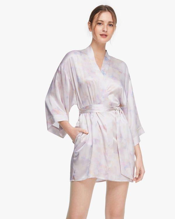 Watercolor print Mid-length Women Silk Robe Pink-Purple-Tie-Dye XS