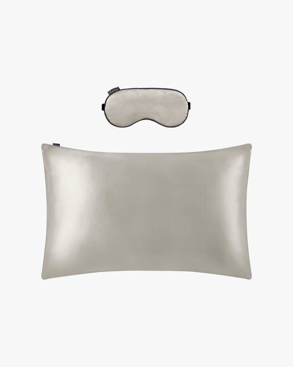 19 MM Terse Silk Pillowcase and Silk Sleep Eye Mask Set