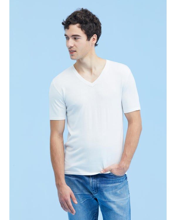 Mens Crew Neck Silk Knitted T Shirt White XL