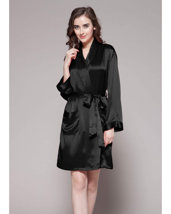 22 Momme Mid Length Silk Robe Black 3X