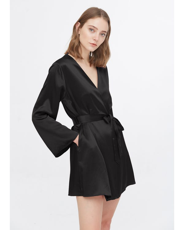 22 Momme Loose Collarless Silk Robe Black L