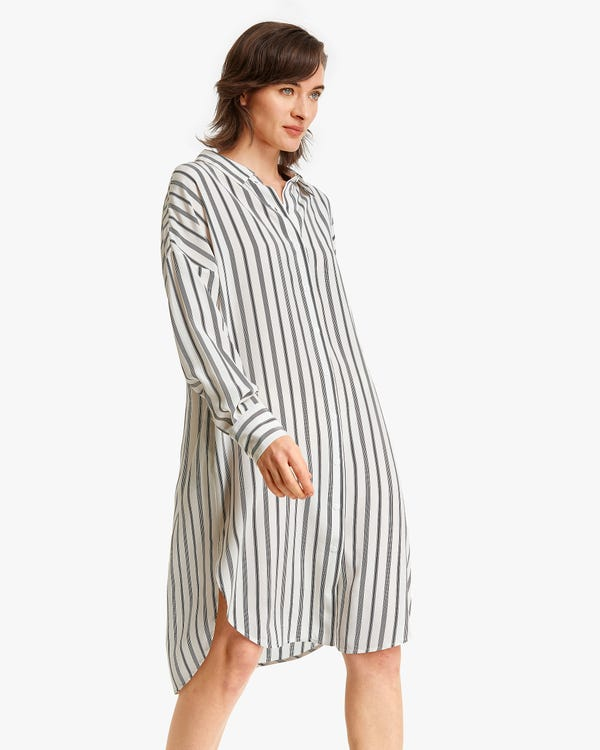 Stripes Printed Button-up long Silk Dress