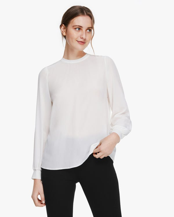 Basic Silk Blouse With Ribbed Cuffs Natural-White XS