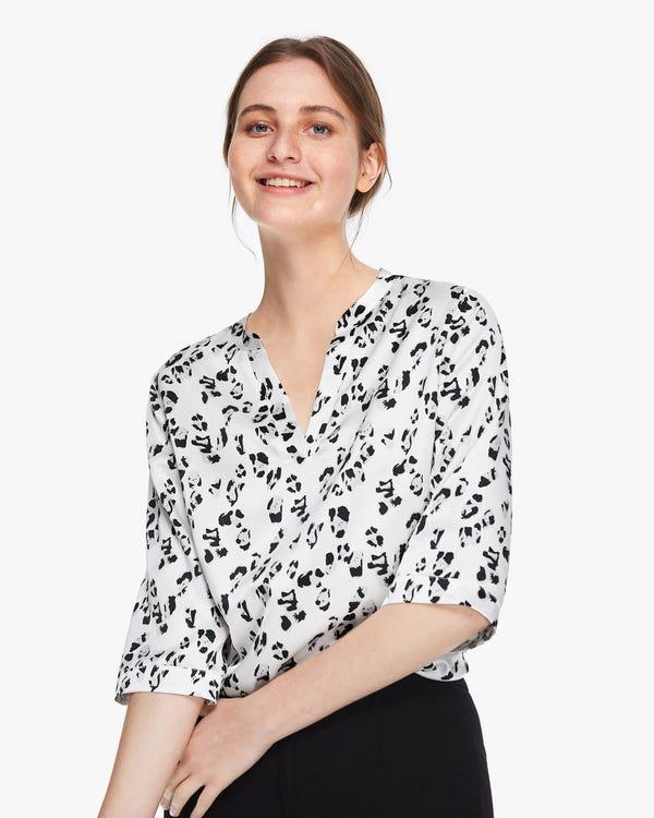 Snow Leopard Print Silk Tunic Blouse Snow-Leopard XS