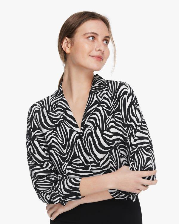 Zebra Print Long Sleeve Silk Shirt Zebra-Stripe XS
