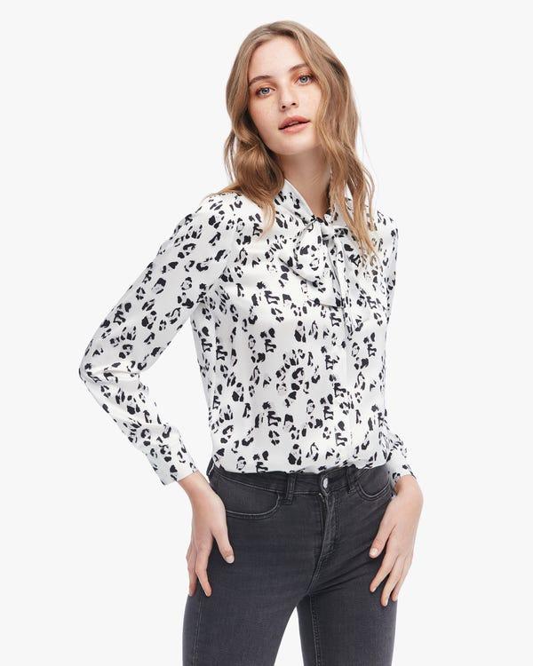 Leopard Print Pure Silk Blouse Snow-Leopard XS