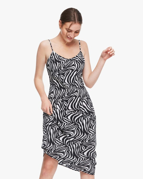 Zebra Stripes Print Silk Slip Dress