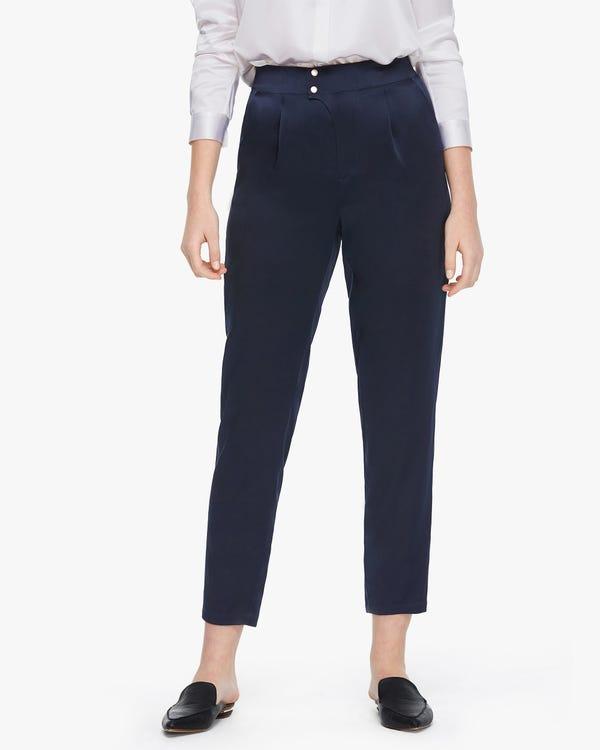 Tapered Silk Women trousers Navy Blue 26B