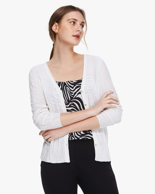 Elegante cardigan in maglia di seta plissettata Natural-White M