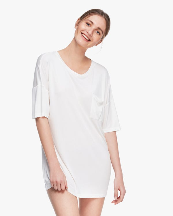 Essential Breathable Silk Loose Tee Natural-White M