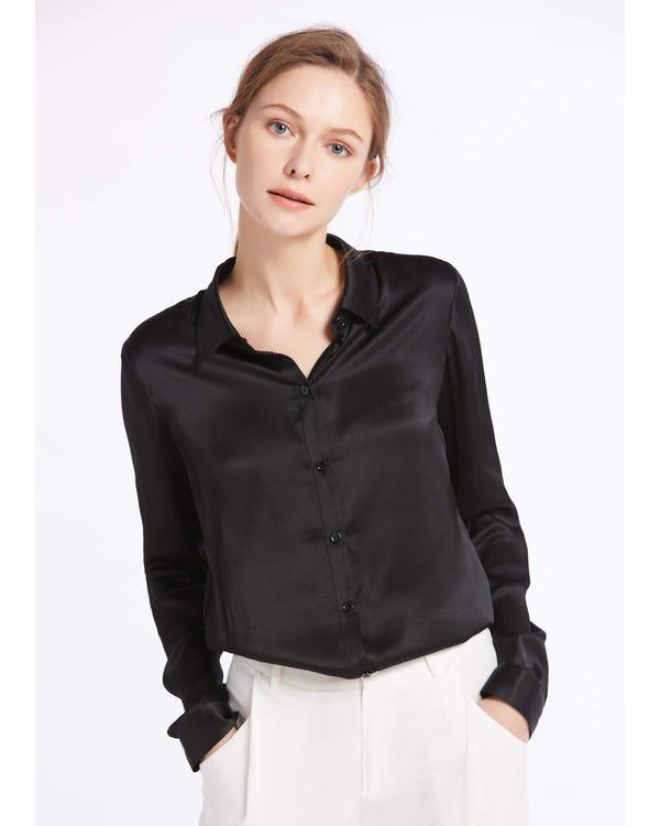 Basic Military Silk Shirt Black XXS-hover