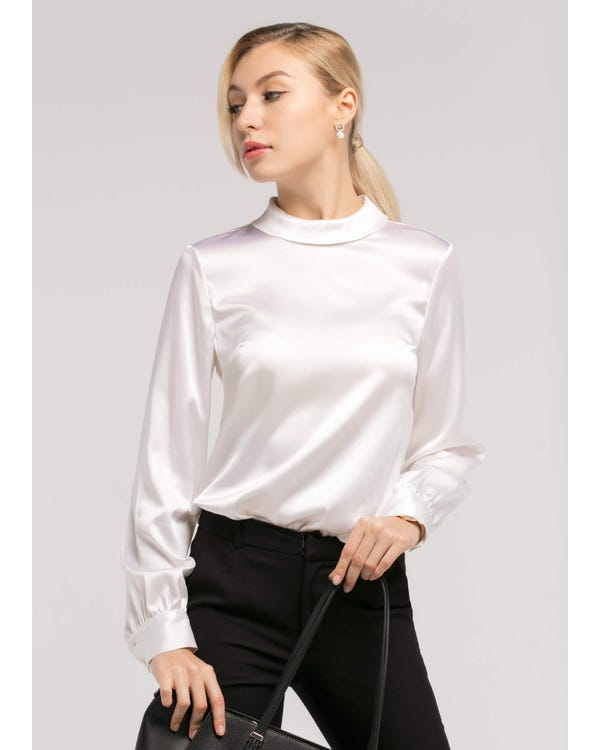 Stand Collar Long Sleeves Silk Blouse White XXS-hover