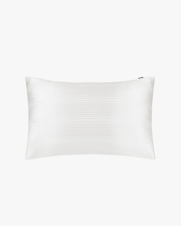 Stripes Jacquard Silk Pillowcase with Hidden Zipper Natural-White 50x90cm