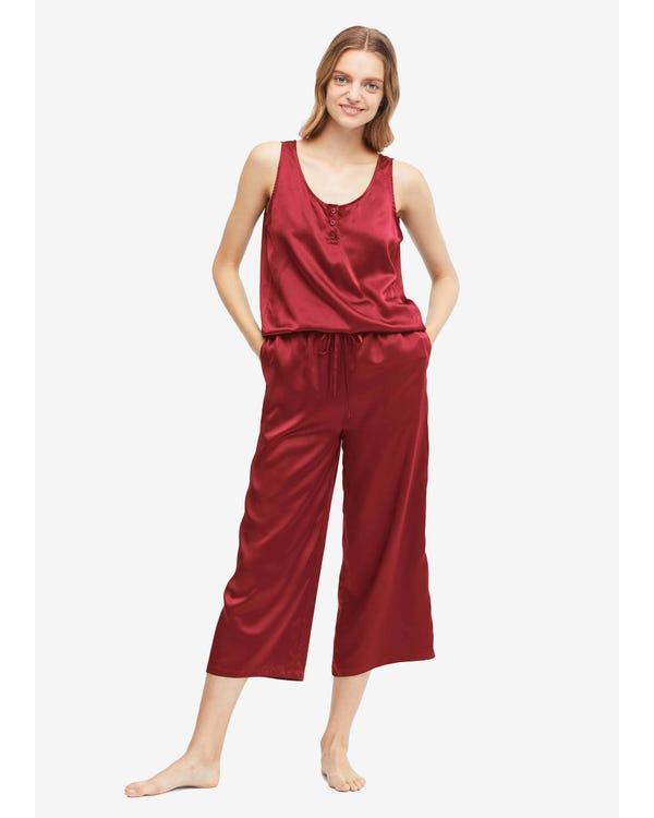 22 Momme einfacher Seide Jumpsuit Pyjama