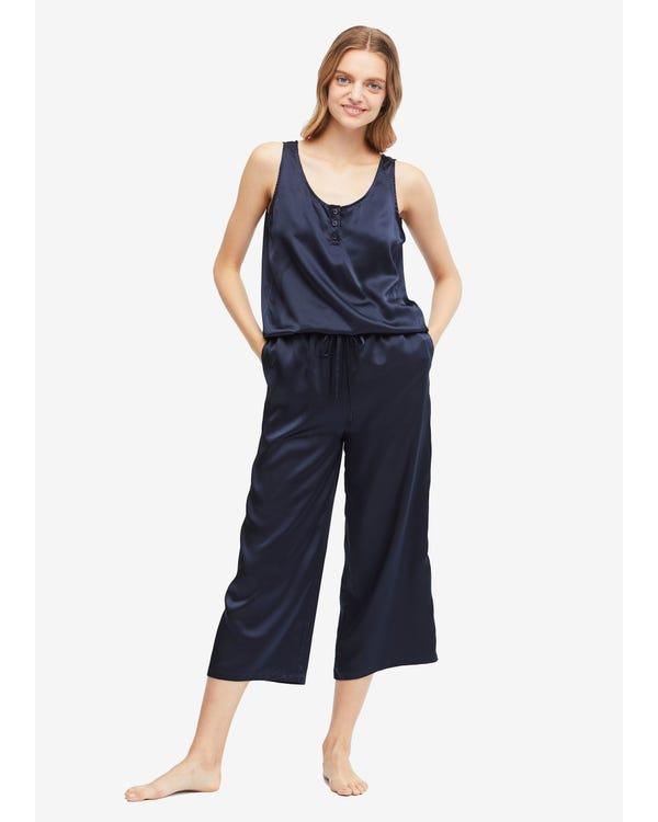 22 Momme Pijama Mono Seda Sencillo Navy Blue XS