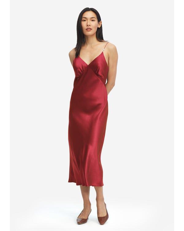 Elegantes V-Ausschnitt Seidenkleid mit Perle Claret M
