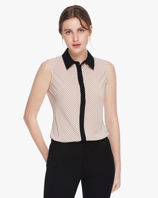 Diagonal Stripes Print Silk Blouse Claret-Stripes-On-Beige XS