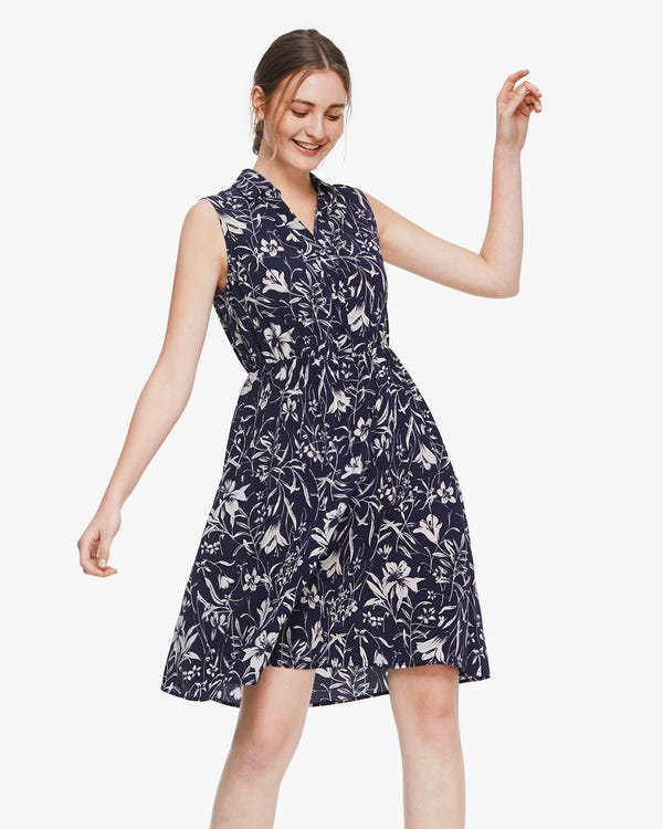 Charming Lily Print Sleeveless Silk Dress Lily-On-Navy-Blue XS