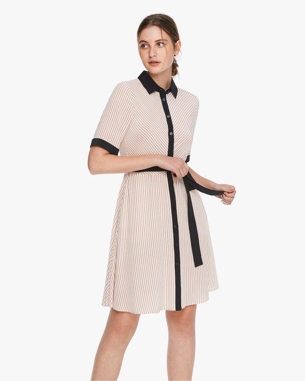 Seidenkleid mit diagonalen Streifen Claret-Stripes-On-Beige S
