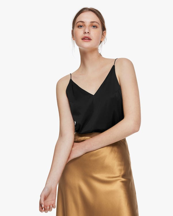 Classic Simple Silk Summer Camisole Black M