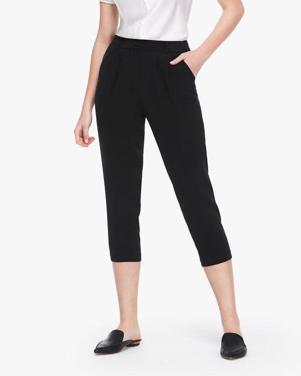 Buttoned Cropped Women Silk Pants Black 26B