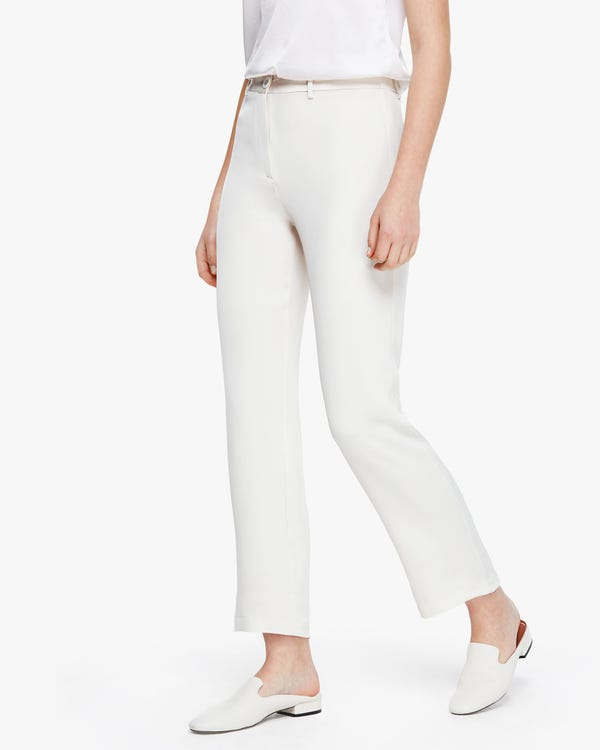 Premium Cropped Women Silk Pants Natural-White 29B