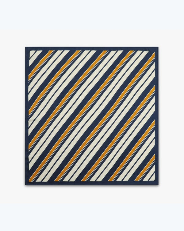 Luxury Striped Twill Silk Square Scarf