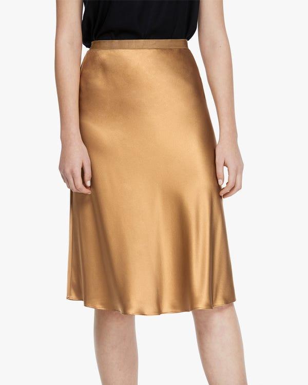 Modern Elegant Silk Midi Skirt Pale-Camel M