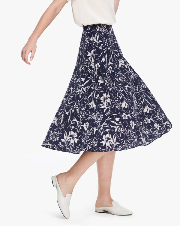 Charming Lily Print Silk Slip Skirt Lily-On-Navy-Blue 29B