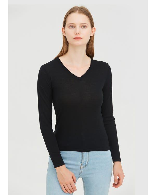 Basic V-Neck Silk Jersey Tee Black M