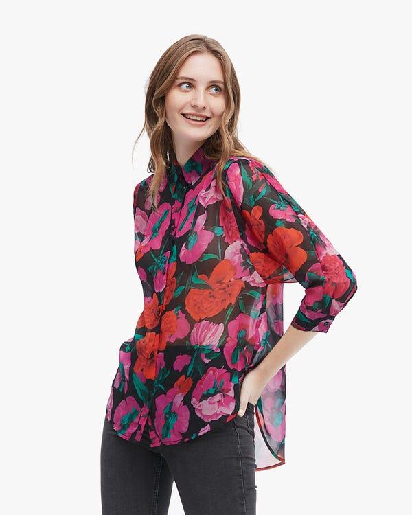 Romantic Floral Print Silk Shirt Vivid-Flowers L