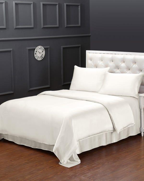 19MM 4PCS Silk Bedding Set Ivory Full