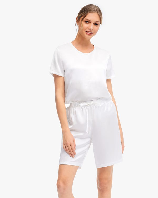 Bra-In Silk Loungewear Women Shorts Set White XS-hover
